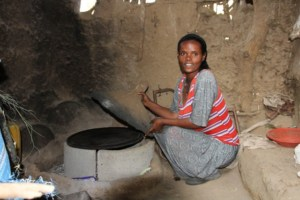 Ehtnesh has received a new stove in her kitchen for making meals for the family. She can now save time with regards to collection of firewood, as well as reducing the amount of smoke in her home that was a danger to the health of the family.